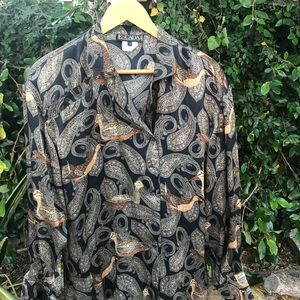 Vintage Escada 100% Silk Blouse Paisley 🦅 design